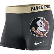 Nike Women's Florida State Seminoles Anthracite/Gold Nike Pro Performance Shorts