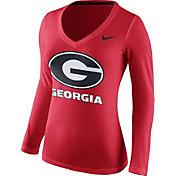 Nike Women's Georgia Bulldogs Red Mid-V Logo Long Sleeve Shirt