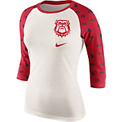 Nike Women's Georgia Bulldogs Cream/Red Veer Tri-Blend Three-Quarter Raglan Shirt