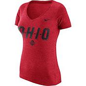 Nike Women's Ohio State Buckeyes Scarlet Tri-Blend V-Neck T-Shirt