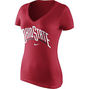Nike Women's Ohio State Buckeyes Scarlet Wordmark V-Neck T-Shirt