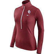 Nike Women's Oklahoma Sooners Crimson Pro Hyperwarm Half-Zip Shirt