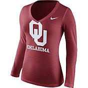 Nike Women's Oklahoma Sooners Crimson Mid-V Logo Long Sleeve Shirt