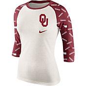 Nike Women's Oklahoma Sooners Cream/Crimson Veer Tri-Blend Three-Quarter Raglan Shirt