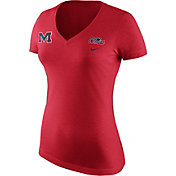 Nike Women's Ole Miss Rebels Heathered Red Tri Team Badge Mid V-Neck T-Shirt