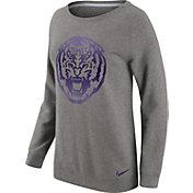 Nike Women's LSU Tigers Grey Champ Drive Boyfriend Crew Sweatshirt