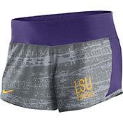 Nike Women's LSU Tigers Grey/Purple Crew Performance Shorts