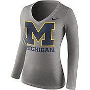 Nike Women's Michigan Wolverines Grey Mid-V Logo Long Sleeve Shirt