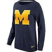 Nike Women's Michigan Wolverines Blue Champ Drive Boyfriend Crew Sweatshirt