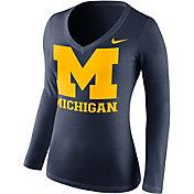 Nike Women's Michigan Wolverines Blue Mid-V Logo Long Sleeve Shirt