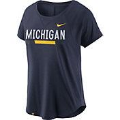 Nike Women's Michigan Wolverines Blue Modern Fan 2.0 Performance T-Shirt