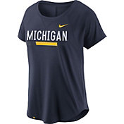 Nike Women's Michigan Wolverines Blue Modern Fan 2.0 Performance T-Shirt