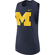 Nike Women's Michigan Wolverines Blue Logo Muscle Performance Tank Top