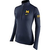 Nike Women's Michigan Wolverines Blue Tailgate Element Half-Zip Shirt