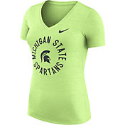 Nike Women's Michigan State Spartans Heathered Green Dri-FIT Touch V-Neck T-Shirt