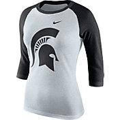 Nike Women's Michigan State Spartans Oatmeal/Black Raglan ¾ Sleeve Shirt