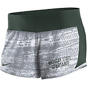 Nike Women's Michigan State Spartans White/Green Crew Performance Shorts