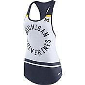 Nike Women's Michigan Wolverines White/Blue Circle Dri-Blend Tank Top