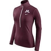 Nike Women's Minnesota Golden Gophers Maroon Pro Hyperwarm Half-Zip Shirt