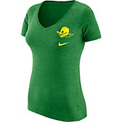 Nike Women's Oregon Ducks Apple Green Flash Bomb Hook V-Neck T-Shirt