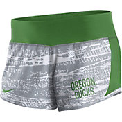 Nike Women's Oregon Ducks Grey/Apple Green Crew Performance Shorts