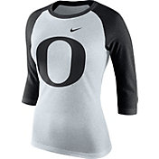 Nike Women's Oregon Ducks Oatmeal/Black Raglan ¾ Sleeve Shirt