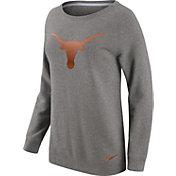 Nike Women's Texas Longhorns Grey Champ Drive Boyfriend Crew Sweatshirt