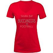 5th & Ocean Women's Tampa Bay Buccaneers Rhinestone Red T-Shirt