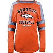 5th & Ocean Women's Denver Broncos Boyfriend Orange Long Sleeve Shirt