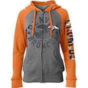 5th & Ocean Women's Denver Broncos Tri-Blend Fleece Grey Full-Zip Hoodie