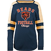 5th & Ocean Women's Chicago Bears Boyfriend Navy Long Sleeve Shirt