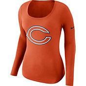 Nike Women's Chicago Bears Logo Orange Long Sleeve Shirt