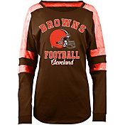 5th & Ocean Women's Cleveland Browns Boyfriend Brown Long Sleeve Shirt
