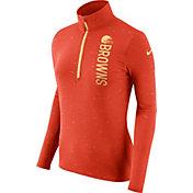 Nike Women's Cleveland Browns Element Quarter-Zip Performance Orange Top
