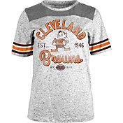 5th & Ocean Women's Cleveland Browns Peppercorn Throwback Grey T-Shirt