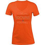 5th & Ocean Women's Cleveland Browns Rhinestone Orange T-Shirt