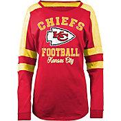 5th & Ocean Women's Kansas City Chiefs Boyfriend Red Long Sleeve Shirt