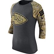 Nike Women's Kansas City Chiefs Salute to Service 2016 Anthracite Raglan T-Shirt