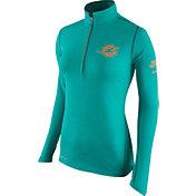 Nike Women's Miami Dolphins Tailgate Element Quarter-Zip Aqua Pullover