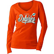 5th & Ocean Women's Miami Dolphins Long Sleeve Orange Shirt