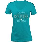 5th & Ocean Women's Miami Dolphins Rhinestone Aqua T-Shirt