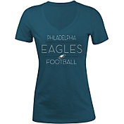 5th & Ocean Women's Philadelphia Eagles Rhinestone Green T-Shirt