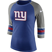 Nike Women's New York Giants Stripe Tri-Blend Blue Raglan T-Shirt