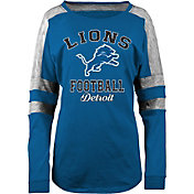 5th & Ocean Women's Detroit Lions Boyfriend Blue Long Sleeve Shirt