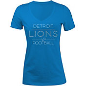 5th & Ocean Women's Detroit Lions Rhinestone Blue T-Shirt