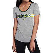 Nike Women's Green Bay Packers Strike Slub Grey T-Shirt