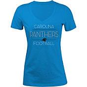 5th & Ocean Women's Carolina Panthers Rhinestone Blue T-Shirt