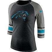 Nike Women's Carolina Panthers Stripe Tri-Blend Black Raglan T-Shirt