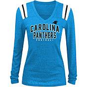 5th & Ocean Women's Carolina Panthers Tri-Blend Blue Long Sleeve Shirt