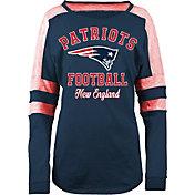 5th & Ocean Women's New England Patriots Boyfriend Navy Long Sleeve Shirt